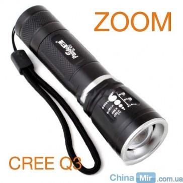 Фара, фонарик 18650 CREE Q3 с зумом, 3.7 V