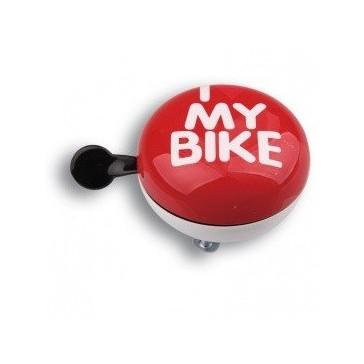 Звонок велосипедный Динг-Донг Green Cycle GCB-1058S I love my bike, диаметр 80mm, красный