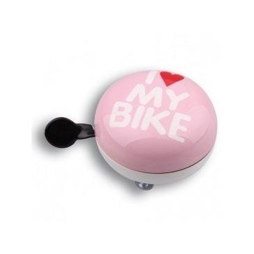 Звонок велосипедный Динг-Донг Green Cycle GCB-1058S I love my bike, диаметр 80mm, розовый