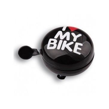 Звонок велосипедный Динг-Донг Green Cycle GCB-1058S I love my bike, диаметр 80mm, черный
