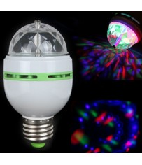 Светодиодная цветная вращающаяся RGB LED лампа E27 для дискотек, вечеринок