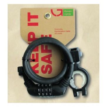 Кодовый замок Green Cycle GCL-А600 в силиконовой обойме с тросом 10х150 см, черный