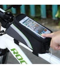 Сумка-бардачок для велосипеда с отсеком для телефона с отверстием.