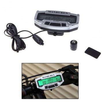Велосипедный, водонепроницаемый, проводной компьютер с  широким ЖК дисплеем и подсветкой.