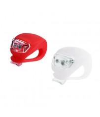 2 силиконовых фонаря на руль, колесо HJ 008-2 красного и белого цвета